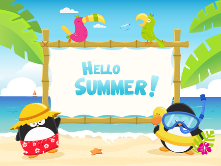 Cute Penguins at The Beach With Billboard