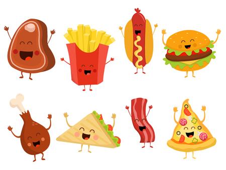 Cute Fast Food Character Set