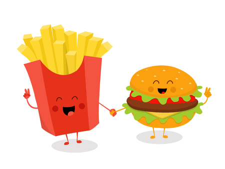Cute French Fries and Cheeseburger Holding Hands