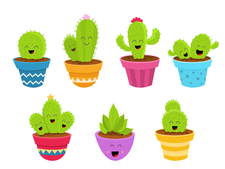 Cute Cactus Characters Set Ilustrace