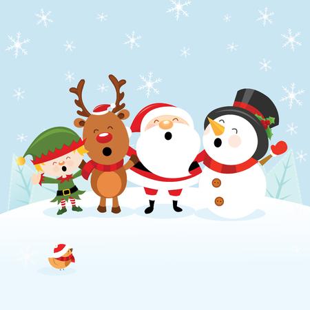 Santa with Reindeer, Snowman and Elf Ilustracja