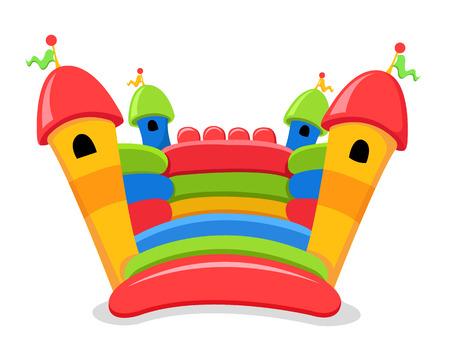 Dibujos animados de castillo hinchable aislado en blanco Ilustración de vector