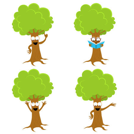 Cute Tree Character Set isolated on white