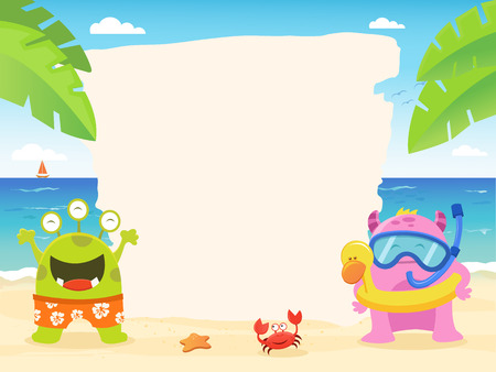 Summer Monsters With Blank Paper