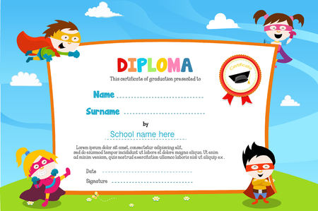 Diploma Template With Super Kids