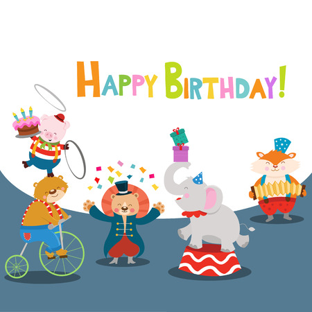 Circus Animals Happy Birthday Card