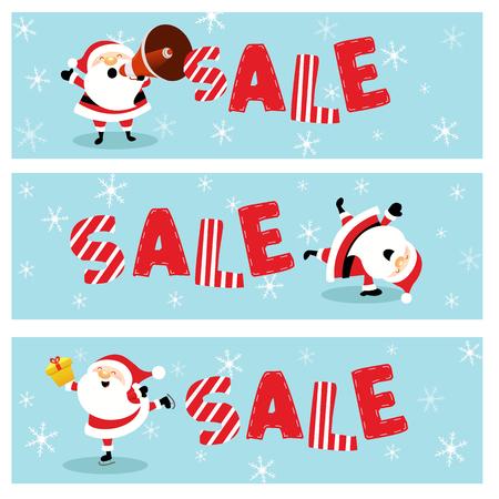 Cute Christmas Sale Banners With Santa Ilustracja