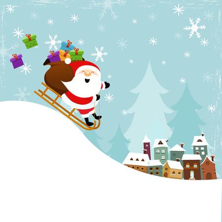 Santa Sledding To Town Ilustracja