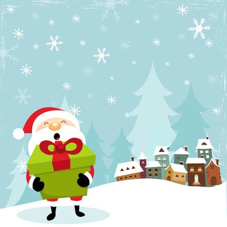 Santa With Big Giftbox Ilustracja