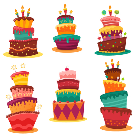 Birthday Cakes Set isolated on white Ilustracja