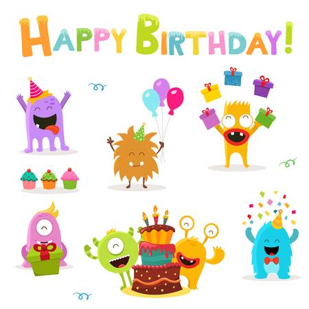 Cute Birthday Monsters Set isolated on white Ilustracja