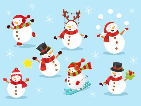 Cute Snowman Characters Ilustracja