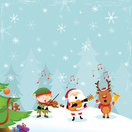 Santa Elf Reindeer Playing Christmas Music