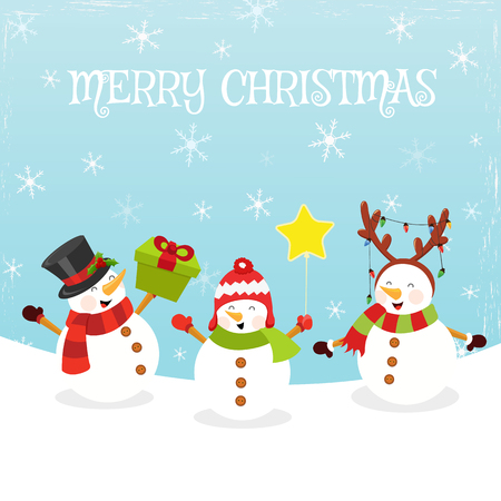 Merry Christmas Card With Snowmen