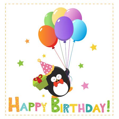 Birthday Penguin With Balloons