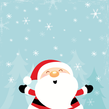 Cute Santa Enjoying Snow Ilustracja