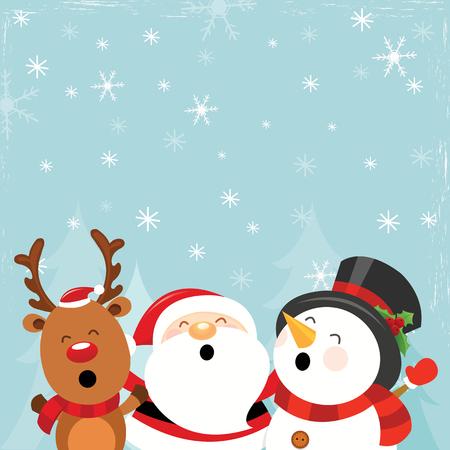 Santa Snowman Reindeer Enjoying Snow
