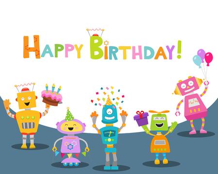 Cute Birthday Cartoon With Robots
