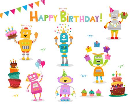 Nettes Geburtstags-Roboter-Set