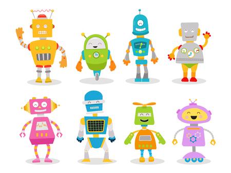 Cartoon Robot Set Ilustrace