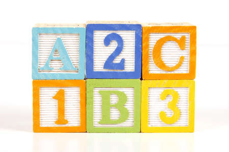 yellow block: Childrens colorful blocks say abc and 123.