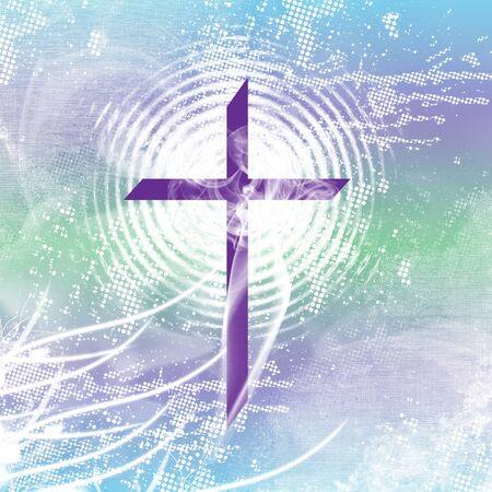 Purple christian Croce con radiazioni bianco, fumo e angosciato, blu e verde. Archivio Fotografico - 8709866
