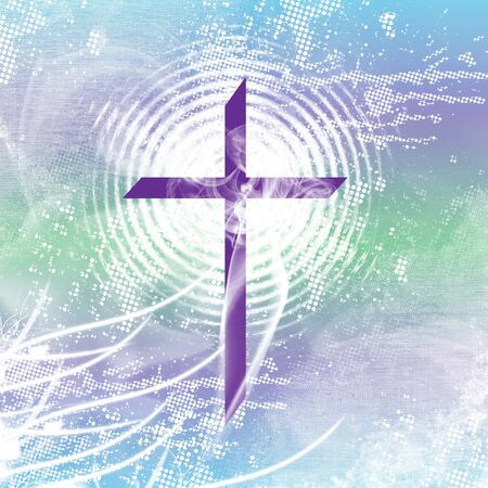 redemption: Purple christian cross with white radiation, smoke and distressed, blue and green.