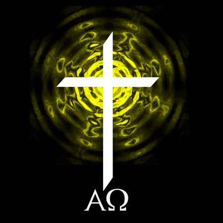 lion and lamb: White cross on black background with yellow radiating and alpha omega symbols. Stock Photo