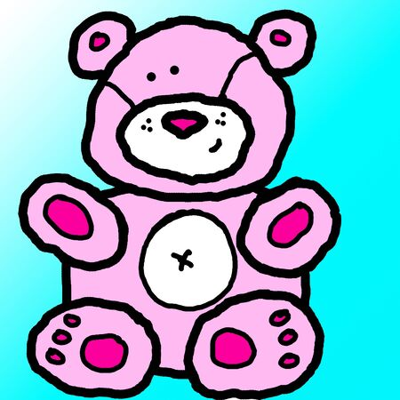 A cute pink teddy bear with a ble background.