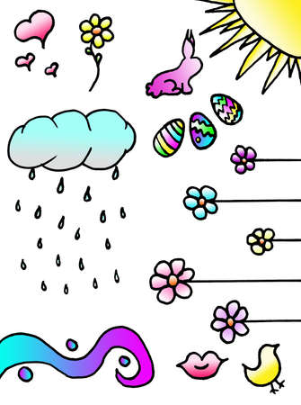A collection of spring doodles for scrapbook and other uses.