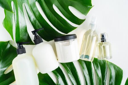 Set bottles of organic body care cosmetic products on monstera leaves over white textile background. SPA branding mock-up, place your design of natural skincare concept. Stock Photo