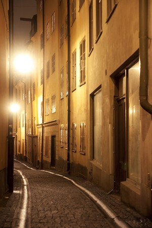 Narrow street in the old town of Stockholm Stock Photo - 8175173