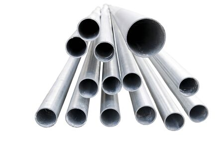 metal pipe: Heap of metal pipes isolated on white
