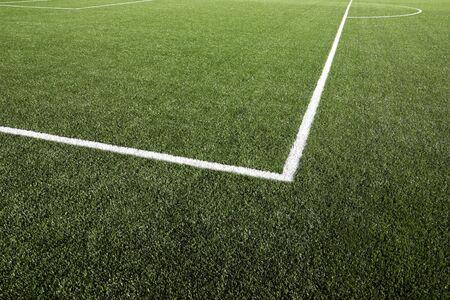 cancha deportiva futbol: Close up de hierba y las líneas de campo de fútbol
