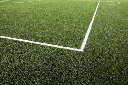 soccerfield: Close-up van gras en lijnen op voetbal veld Stockfoto