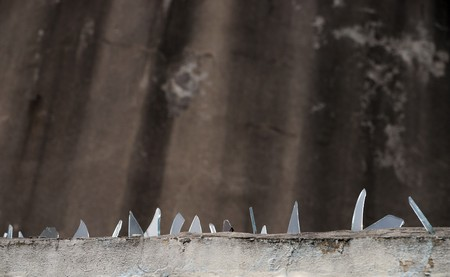 Fence with glass fragments on the edge Stock Photo - 8175333