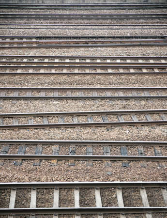 Background of many parallel railroad tracks in a yard Stock Photo - 8172138