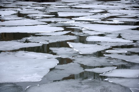 Melting ice floes in the water in early spring Stock Photo - 8172240