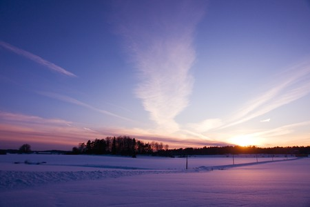 winter evening at countryside Stock Photo - 8175458