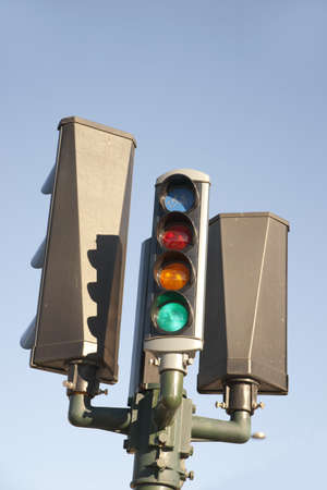 Close up of traffic lights for bicycles photo