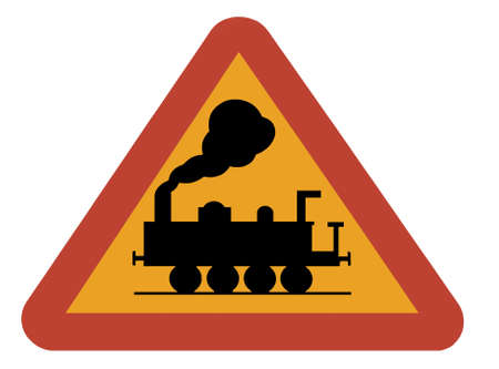 Warning sign for railway crossing, isolated on white photo