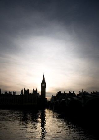 Silhouette of Big Ben and the Houses of Parliament in London in sunset Stock Photo
