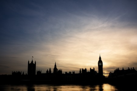 Silhouette of Big Ben and parliament building in London at sunset Stock Photo