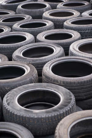 Background of old worn tires photo