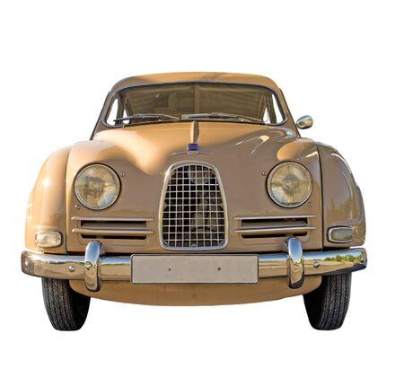 Vintage Swedish car isolated on white