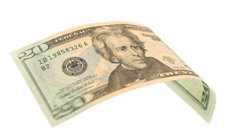 hundred dollar bill: 20 dollar bill isolated on white