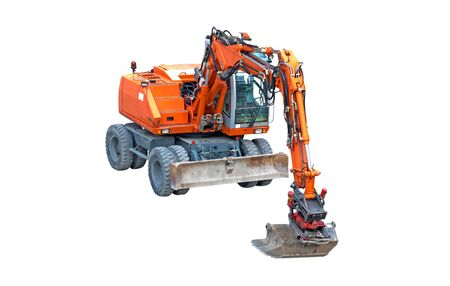 Red digger at a construction site, isolated on white Stock Photo - 8311478