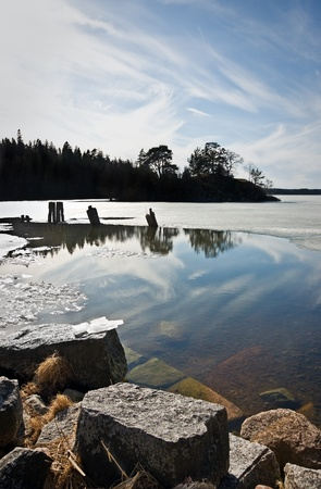 Melting ice on a lake in the early spring photo