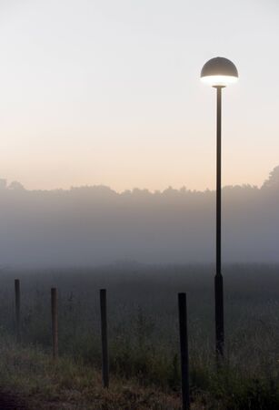 lit lamp: Lamp post with lit lamp in a foggy evening