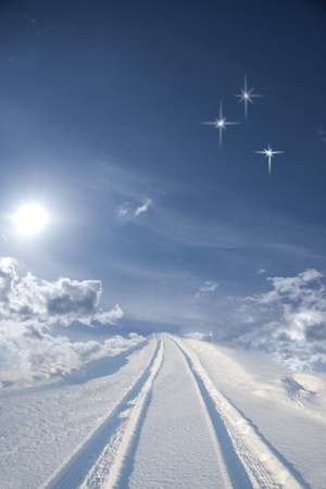 beautiful heaven: Winte road disappering into the blue sky